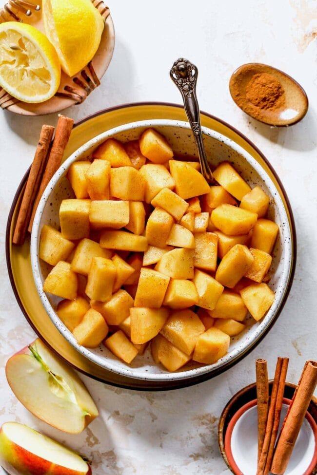 skillet cinnamon apples in bowl