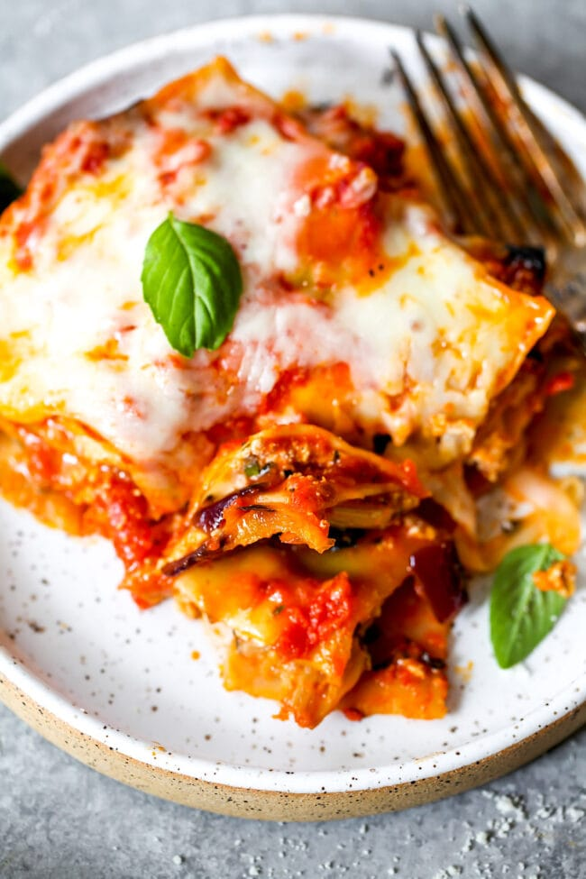 Piece of vegetable lasagna on plate