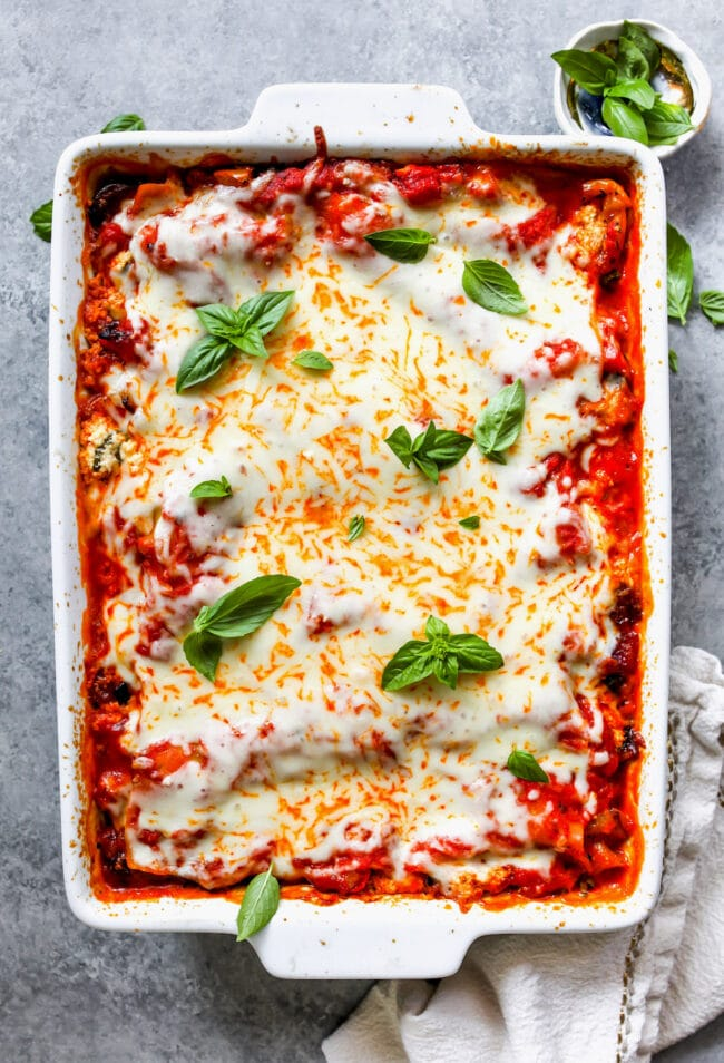 Vegetable lasagna in pan