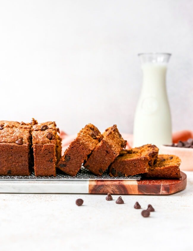 pumpkin chocolate chip bread cut in slices with milk