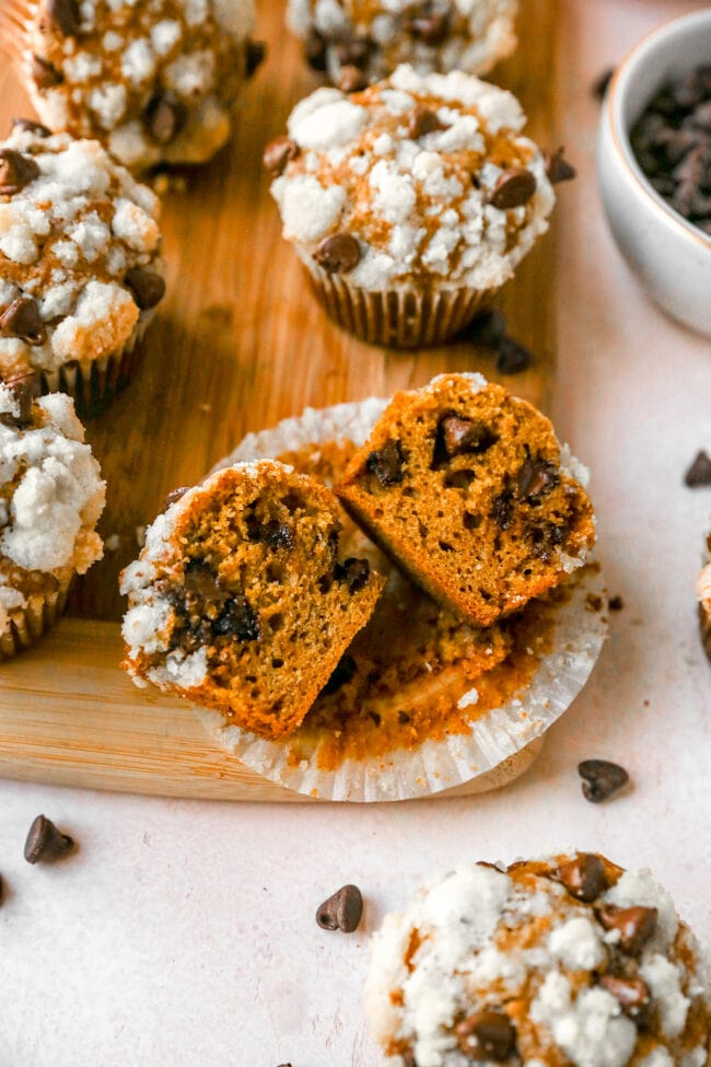 Pumpkin chocolate chip muffin cut in half