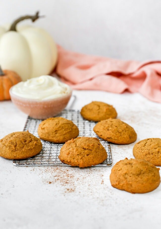 Pumpkin cookies on cooling rack