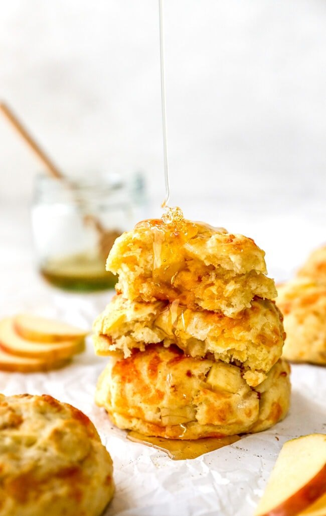 apple cheddar biscuits with honey