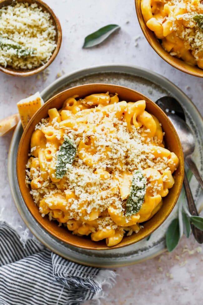 Pumpkin Mac and Cheese in bowl