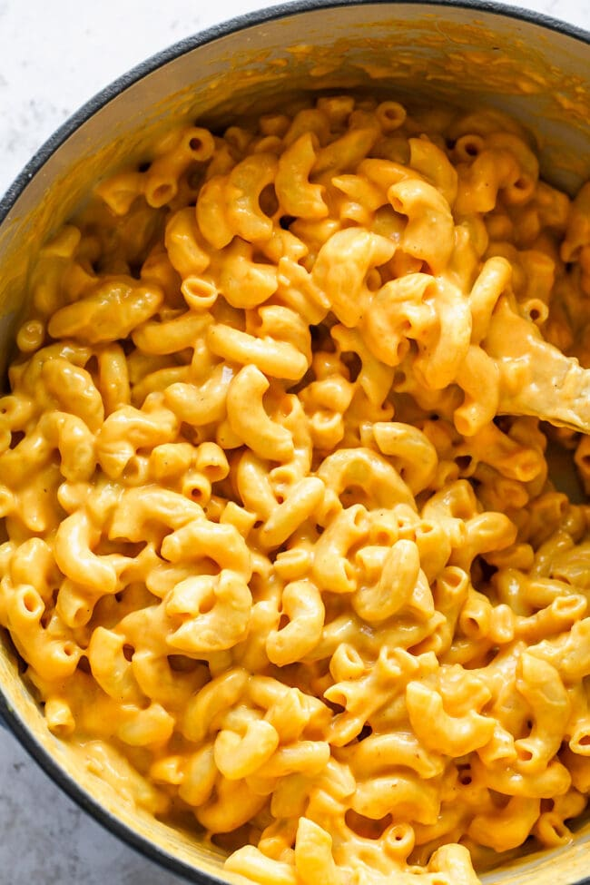 Stovetop Mac and Cheese in pot