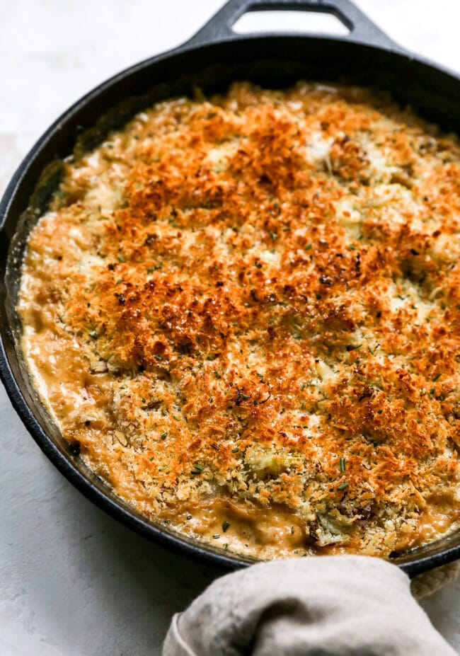 Brussels sprouts casserole with panko topping