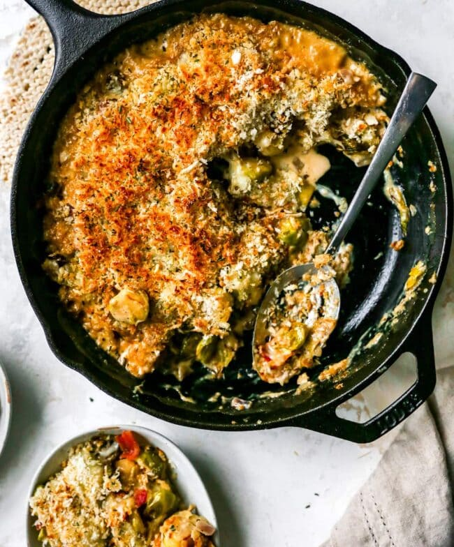 Brussels Sprouts casserole in skillet