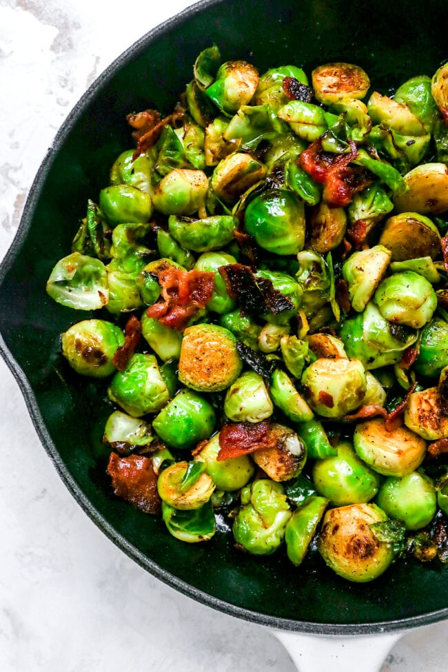 brussels sprouts with bacon in skillet