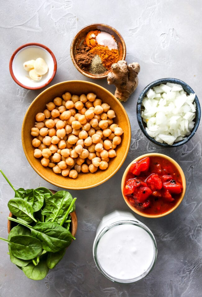 easy chickpea curry ingredients