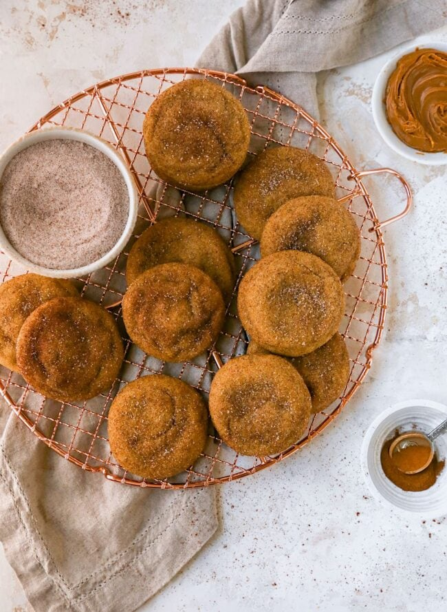 brown butter biscoff snickerdoodles on cooling rack
