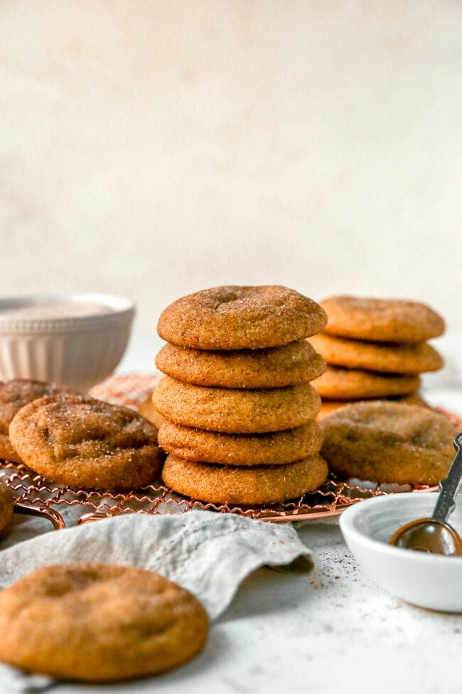 stack of brown butter Biscoff snickerdoodles