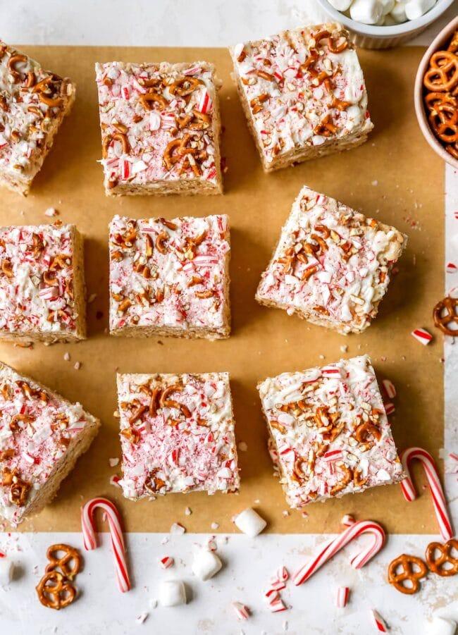 white chocolate peppermint pretzel rice krispie treats cut into squares