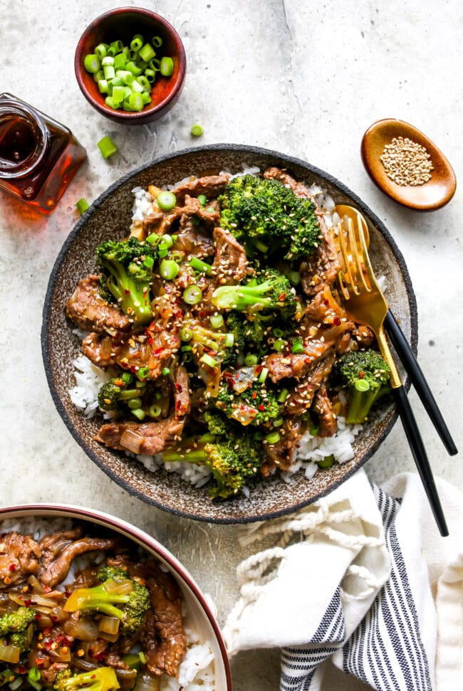 Easy Beef and Broccoli in bowl