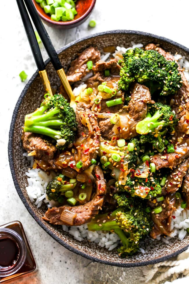 Beef and Broccoli with rice in bowl