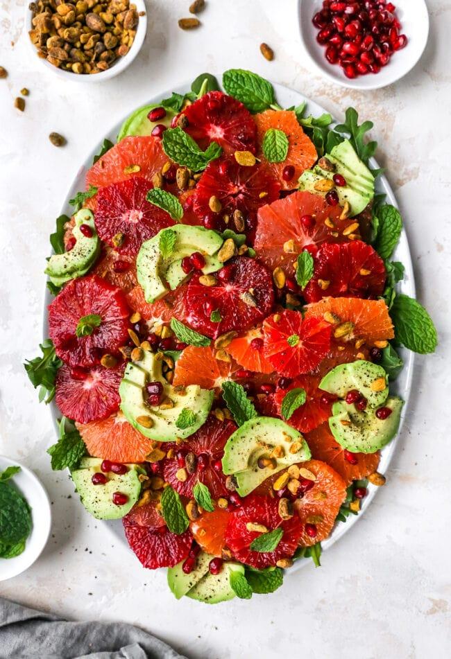 citrus salad on platter