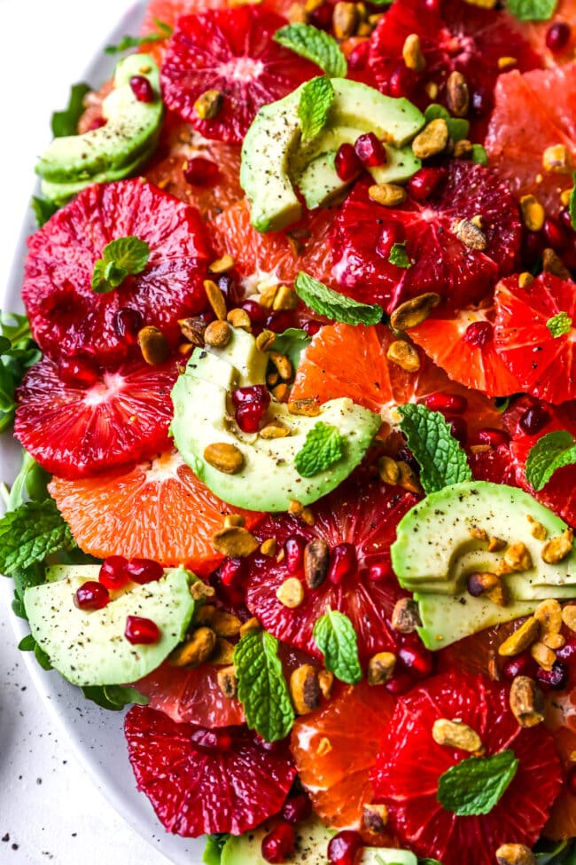 citrus salad with avocado, pomegranate, pistachios, and mint
