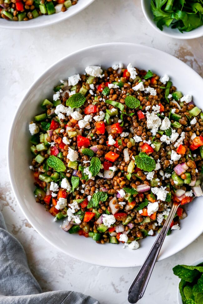 lentil salad with cucumber, pepper, onion, and herbs