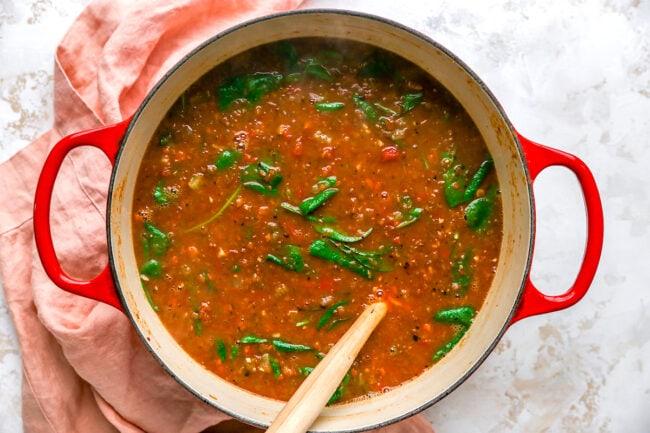lentil soup in pot