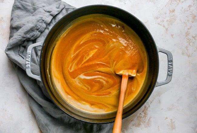 sweet potato soup in pot