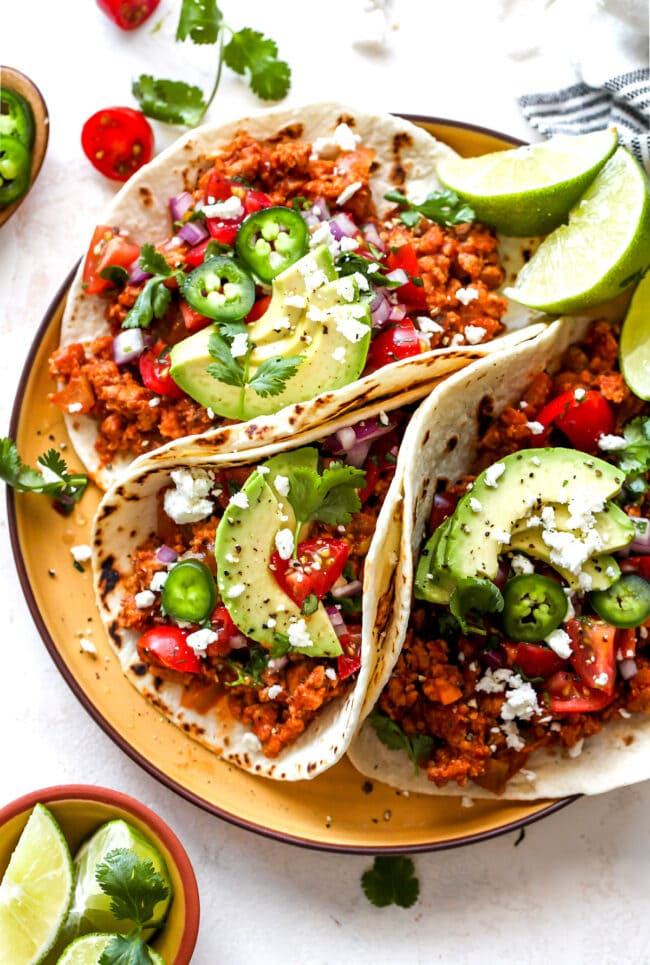 turkey tacos with toppings