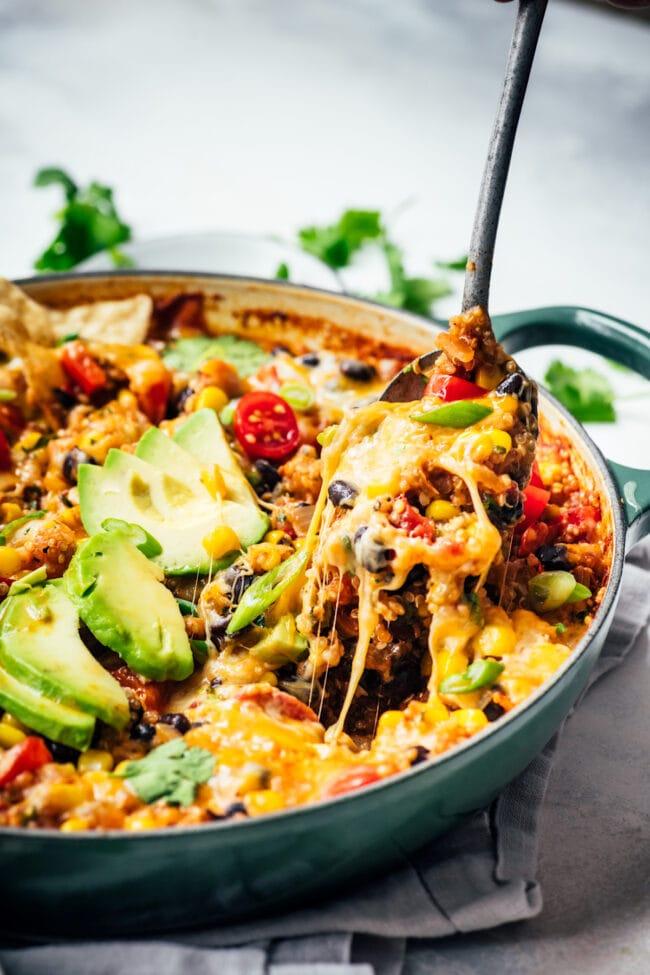 cheesy vegetarian taco skillet in pan