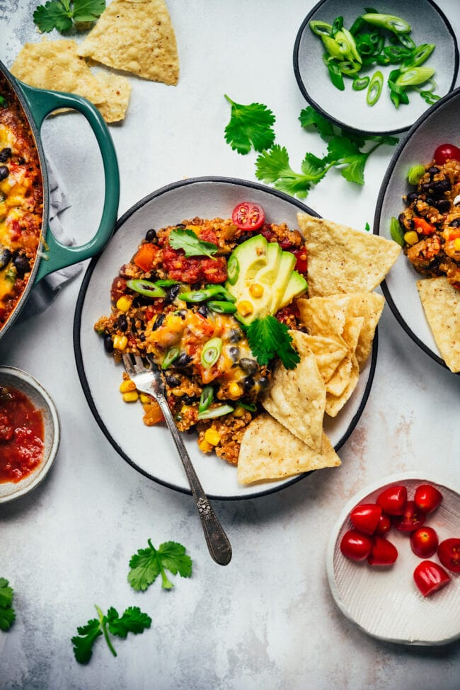 vegetarian taco skillet on plate with chips