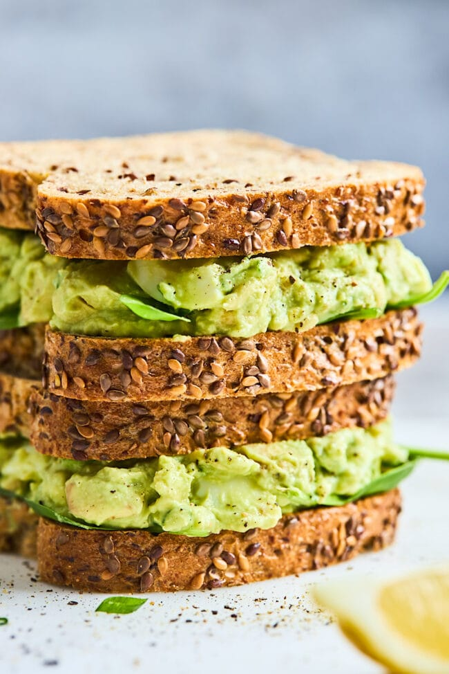 avocado egg salad sandwich stacked