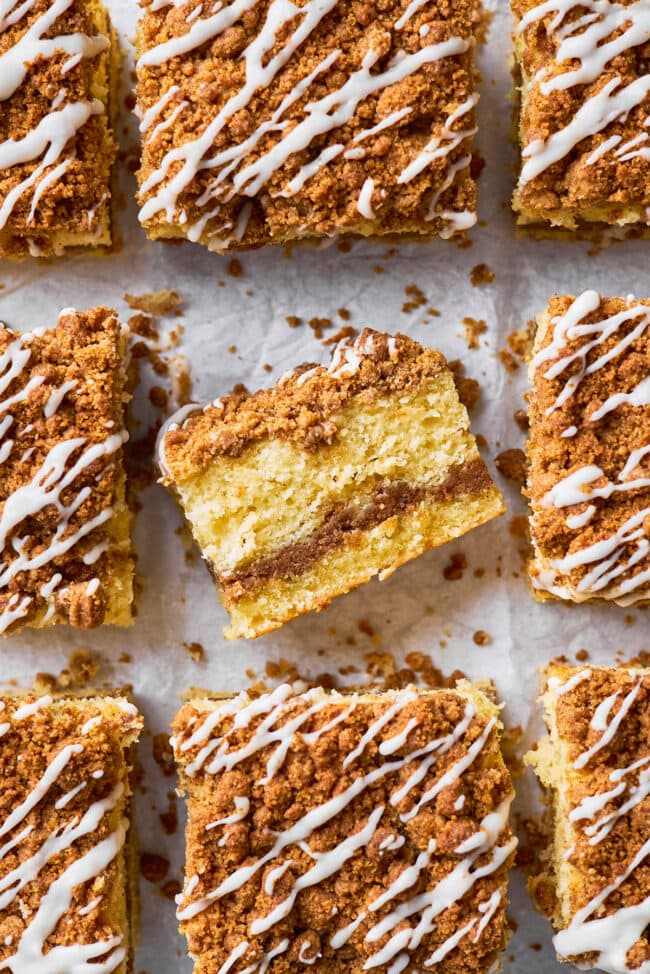 coffee cake with streusel and vailla glaze