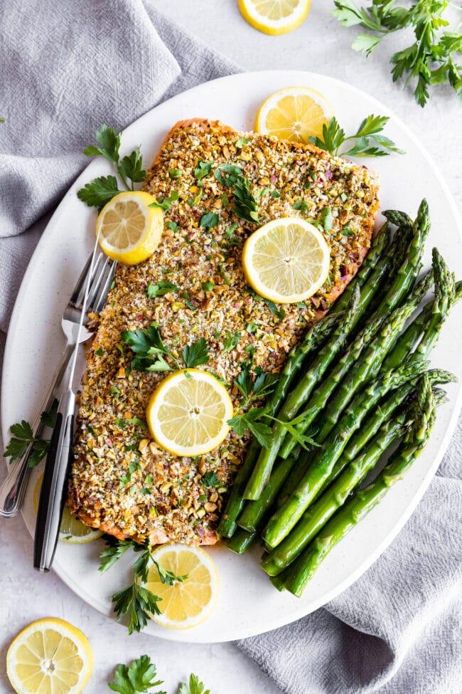 pistachio crusted salmon on platter