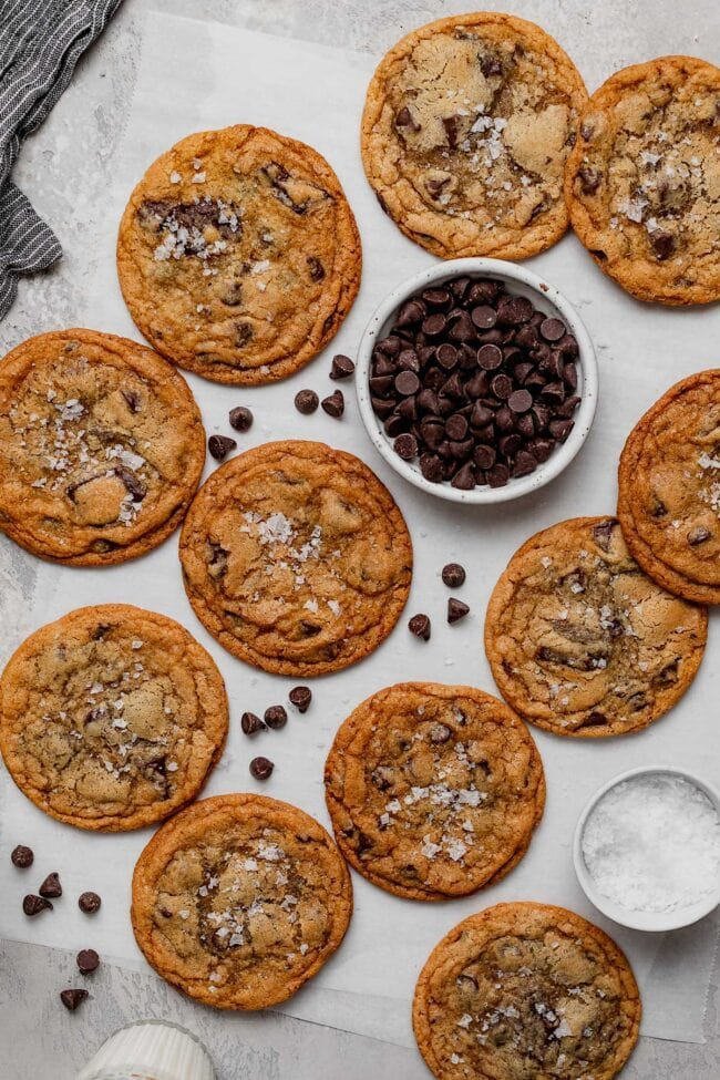 salted malted crispy chocolate chip cookies