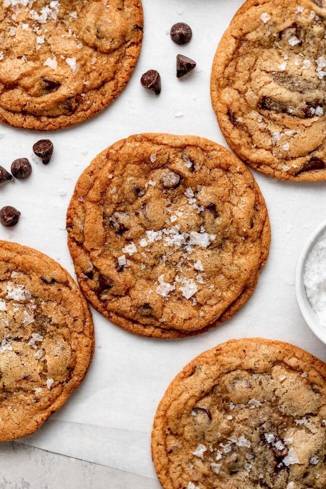 crispy chocolate chip cookies with sea salt