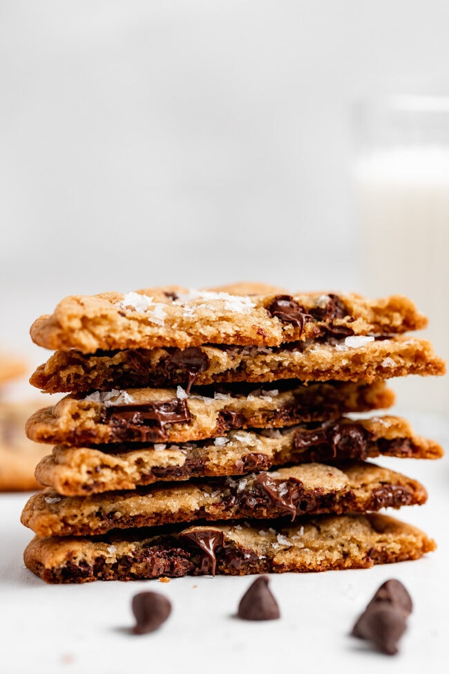 crispy chocolate chip cookies stacked