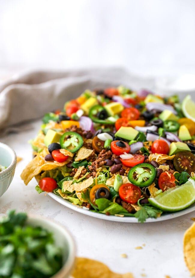 taco salad on platter