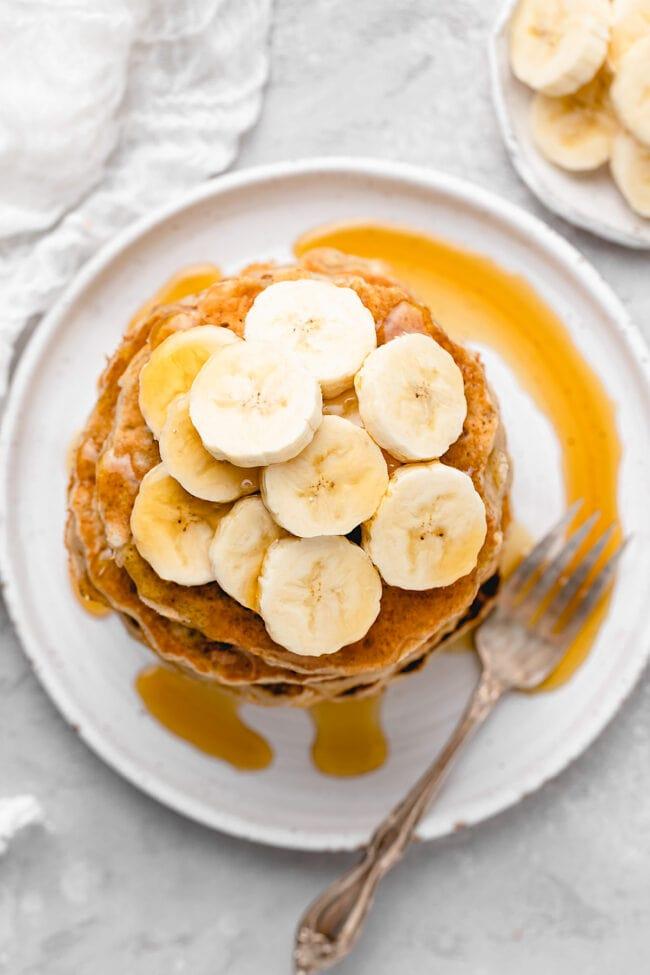 banana pancakes with fresh banana slices