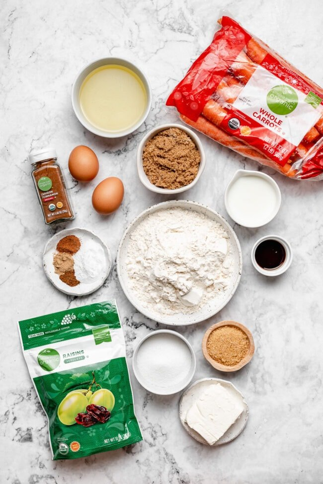 carrot cake muffin ingredients