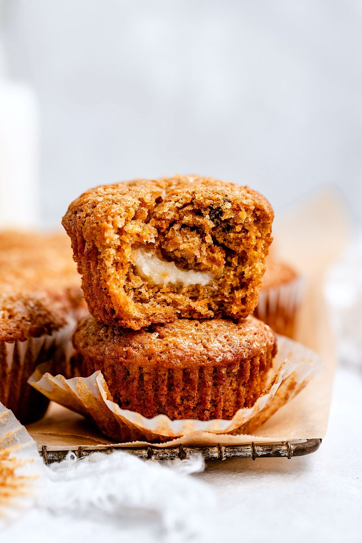 Carrot Cake Muffins {Cream Cheese Filling} - Two Peas & Their Pod