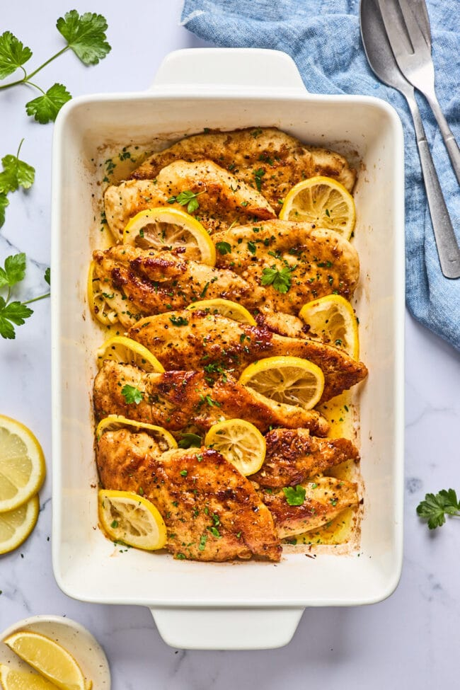 Lemon butter chicken in pan