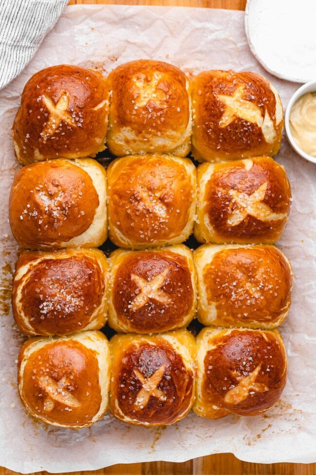 Homemade soft pretzel rolls