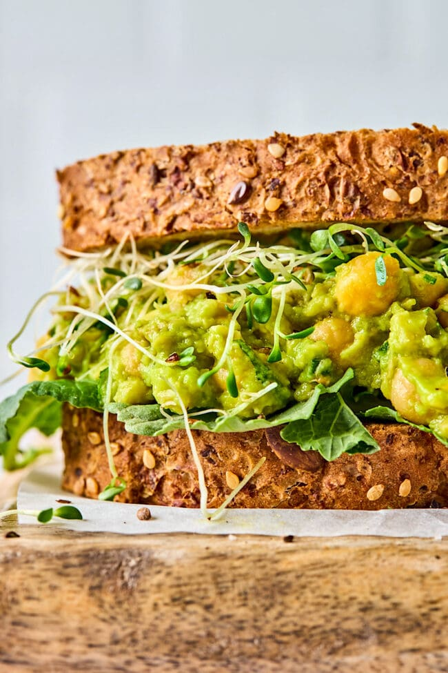 healthy smashed chickpea salad sandwich