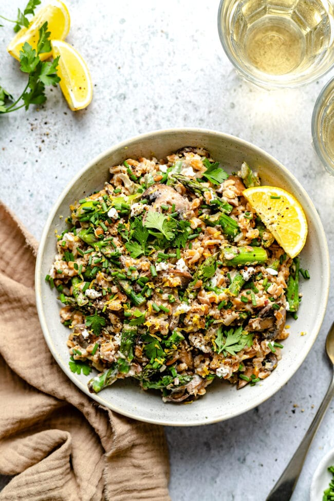 farro with mushrooms and asparagus in bowl