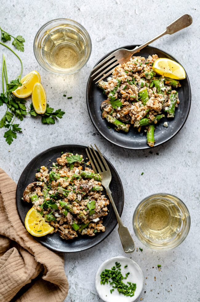 farro with mushrooms, asparagus, goat cheese, herbs, and lemon
