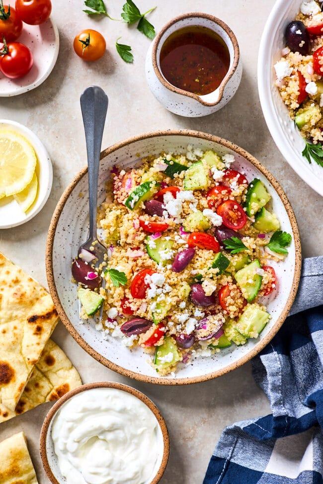 Greek quinoa salad in bowl