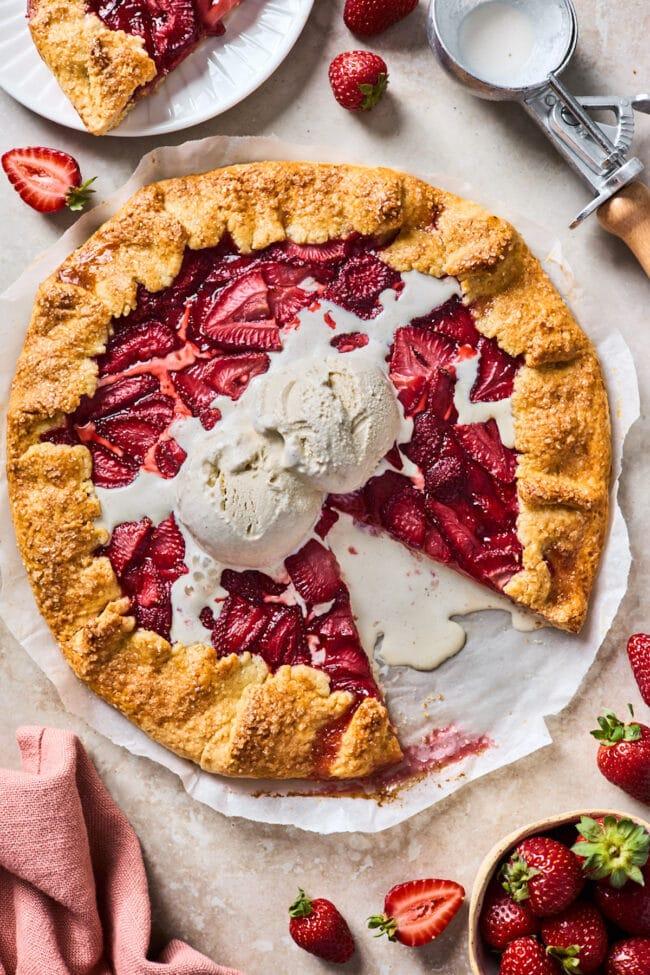strawberry galette recipe with ice cream