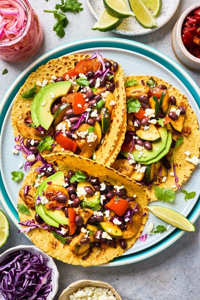 Easy vegetarian tacos on plate