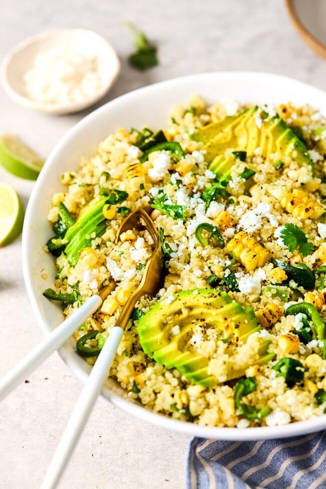 charred corn and avocado quinoa salad recipe