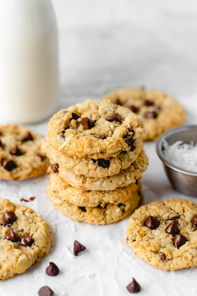 stack of oatmeal coconut chocolate chip cookies