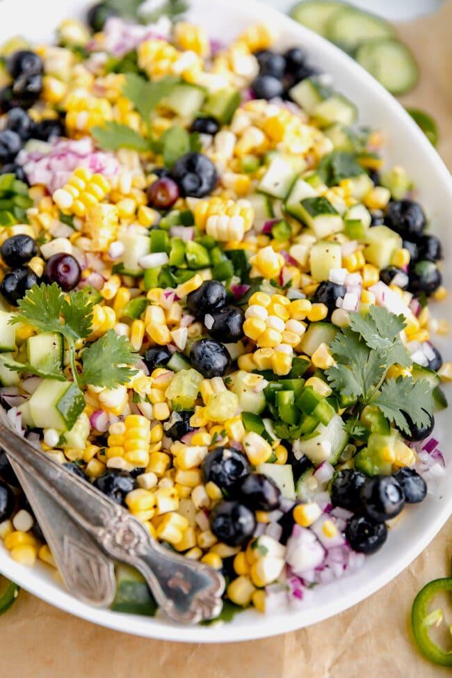 fresh blueberry corn salad