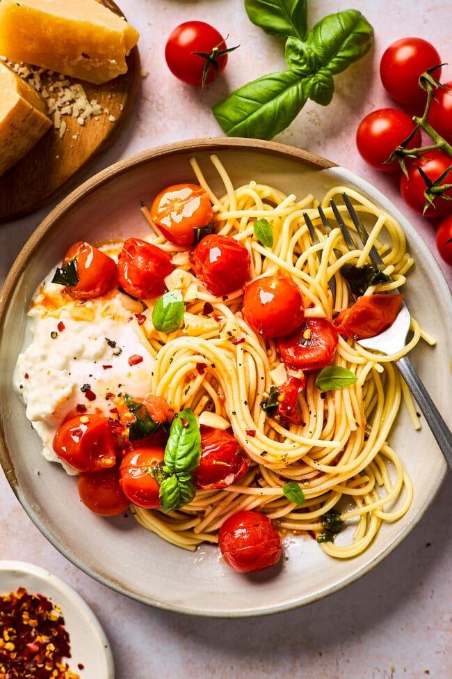 how to make burst cherry tomato pasta