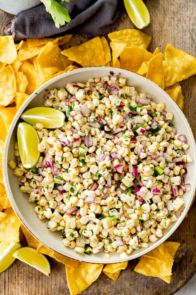 fresh corn salsa recipe in bowl