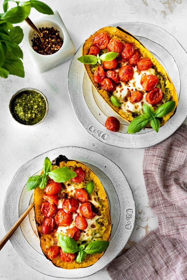 Spaghetti Squash Recipe with Pesto, Mozzarella, and Roasted Tomatoes